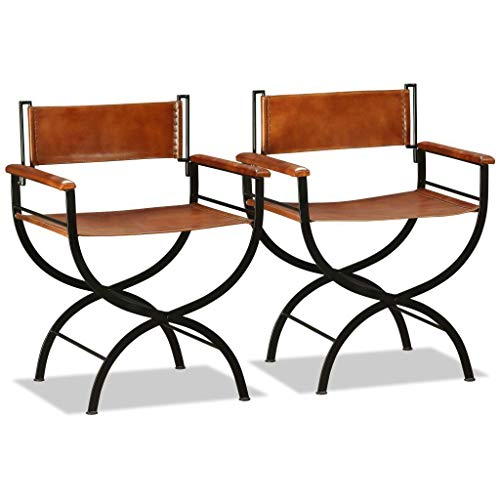 - Set of 2 Vintage Industrial Armchair Genuine Leather Chair Rustic Style Steel Metal Frame Folding Seat Dining Living Room Cafe Bar Hallway Chairs Retro Funky Kitchen Armrest Mid Century Furniture