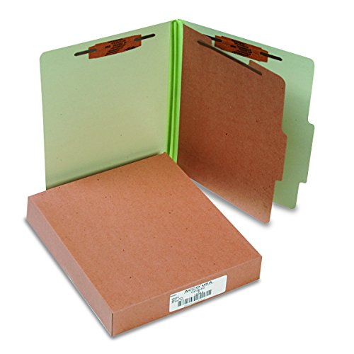 ACCO Classification Folders with Fasteners, Pressboard, 4-Part, Letter Size, Green, 10 per Box -