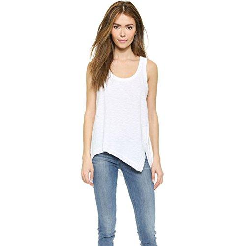 YOUJIA Mujeres Irregular Suelto Cuello redondo Camisetas Sin mangas T-Shirts Tank Tops Chalecos Blanco