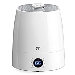 Warm & Cool Mist Humidifier, TaoTronics 5.5L Ultrasonic Air Humidifiers for Home Bedroom Office with Filter, LED Display, External Humidity Sensor, 360°Rotatable Nozzle --(5.5L/1.45 Gallon, US 110V)