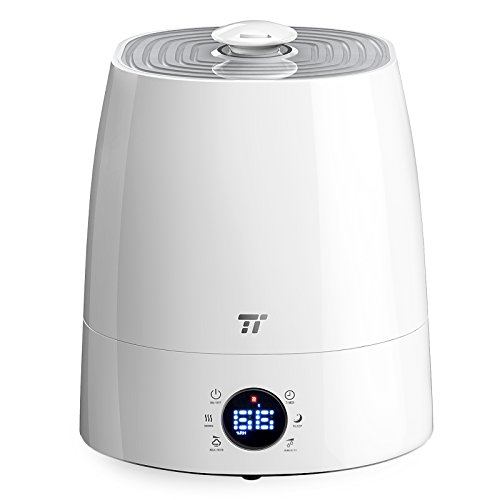Warm & Cool Mist Humidifier, TaoTronics Ultrasonic Humidifiers for Bedroom, LED Display, External Humidity Sensor, Large 5.5L/1.46 Gallon Capacity, 360° Rotatable Nozzle, US 110V