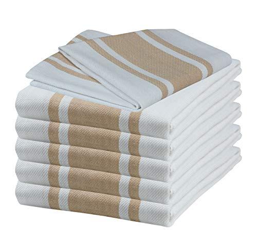Glamburg Kitchen Dish Towels 6-Pack Oversized 18x28 100% Natural Cotton Vintage Classic Stripe Super Absorbent - Linen Beige - Natural Beige Stripes