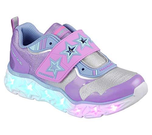 Skechers Kids Girls' Galaxy Lights-Cosmic Kick Sneaker, Silver/Lavender, 13 Medium US Little Kid (Shoes Skechers Light)