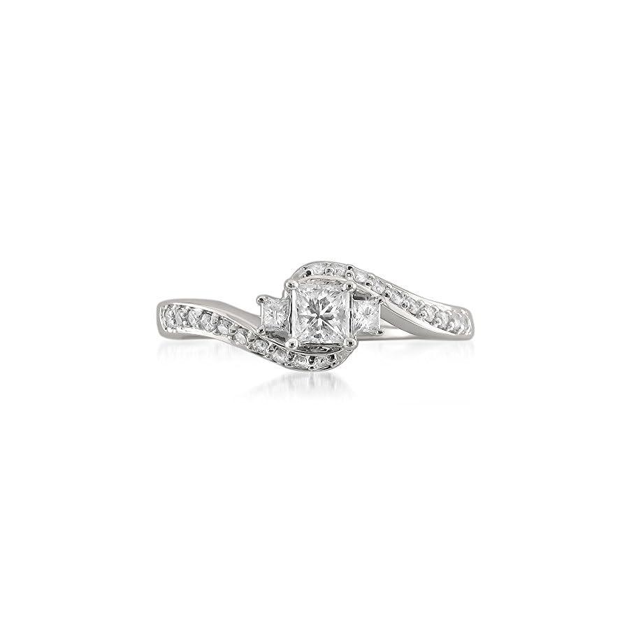14k White Gold Three Stone Princess cut & Round Diamond Engagement Ring (1/2 cttw, I J, I1 I2)