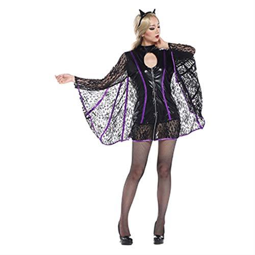 Animal Costume Deguisement Halloween Women Vampire Costume Carnival Costume Fancy Party Dress(Black,L) -