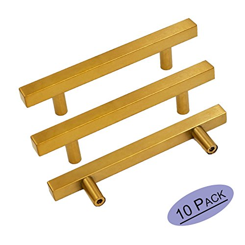 (goldenwarm Brushed Brass Drawer Pulls Gold Cabinet Hardware 10 Pack - LS1212GD96 T Bar Square Gold Kitchen Cabinet Door Handle 3.75 inch Hole Centers Bathroom Cabinet Pulls)