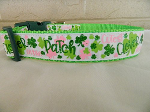 Schmoopsie Couture St Patrick's Day Cutest Clover in the Patch Dog Collar (Large (15