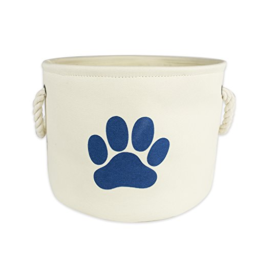 "DII Bone Dry Small Round Pet Toy and Accessory Storage Bin, 12""(Dia)x9""(H), Collapsible Organizer Storage Basket for Home Décor, Pet Toy, Blankets, Leashes and Food-White with Blue Paw"