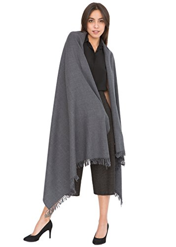 likemary Merino Wool Wrap Shawl & Blanket Scarf Oversize Fairtrade Pashmina Kasa Charcoal 100 x 200cm (Shawl Theater)