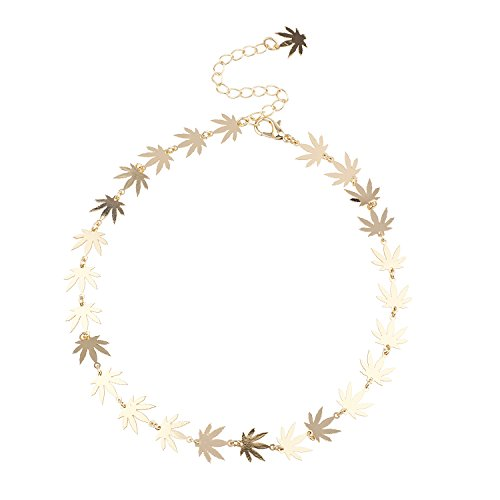 Lux Accessories GoldTone Marijuana Sideways Sign Weed Leaf Choker Necklace