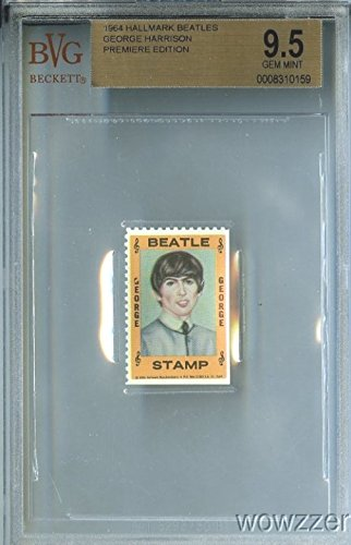 1964 Hallmark BEATLES Stamp George Harrison BGS 9.5 GEM MINT Rare High Grade Shipped in Ultra Pro Graded Card Sleeve to Protect it ! from Hallmark