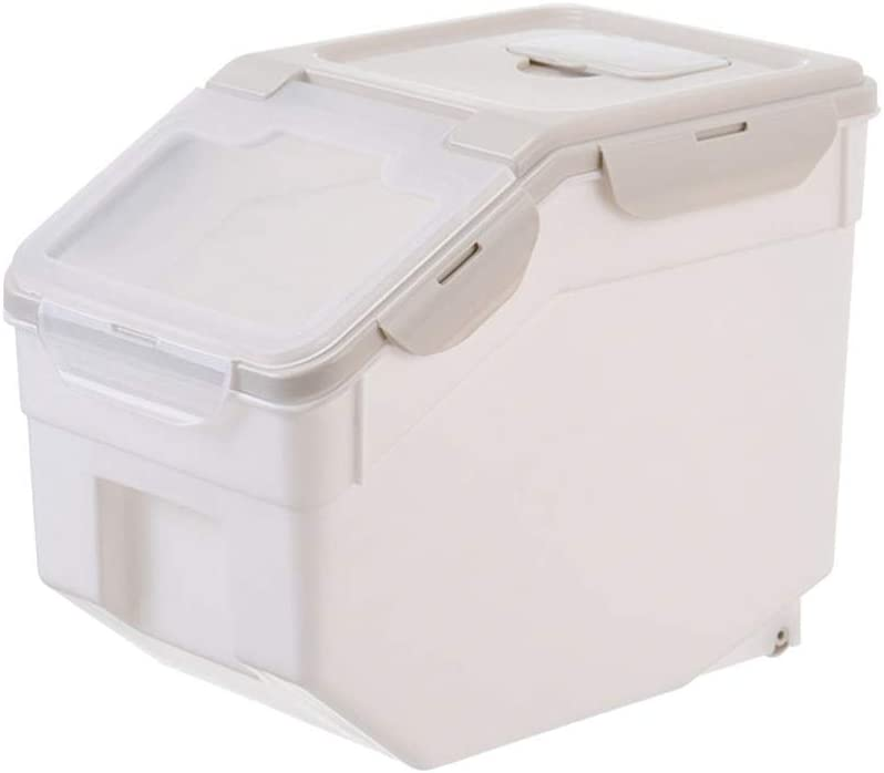 Pet Food Container Moisture Proof Dustproof Dry Food Bucket Storage Case Containers Size L (Beige) Useful