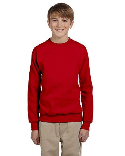 Hanes Youth 7.8 oz 50/50 Crewneck Sweatshirt in Deep Red - Medium (10/12)