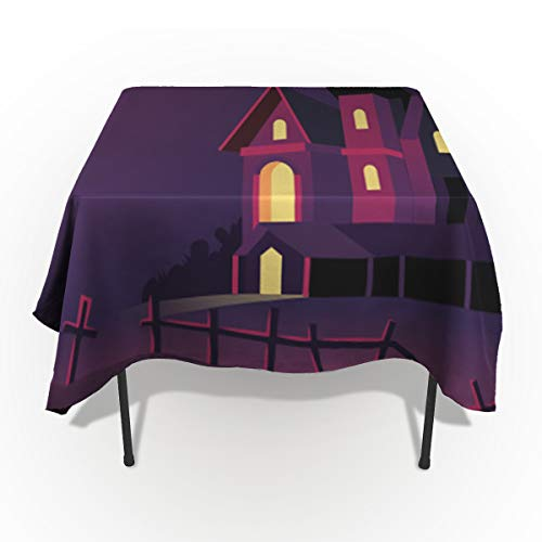 54 x 120 Inch Rectangle Tablecloth - Happy Halloween Castle Rectangular Polyester Table Cloth Table Covers Linen Decor - Great for Kitchen Table, Parties, Holiday Dinner, Wedding & More ()
