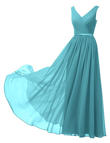 Alicepub V-Neck Chiffon Bridesmaid Dress Long Party Prom Evening Dress Sleeveless, Turquoise, US20