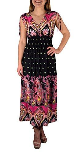 Vestito Maxi Estivo Donna Couture Senza Maniche Negro Da Peach Di fucsia Exotic Tahiti Disegno Pois hCtBsQrdx
