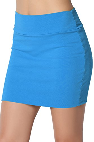 Turquoise Cotton Spandex - TheMogan Junior's Stretch Cotton Double Layered Tube Mini Skirt Turquoise M