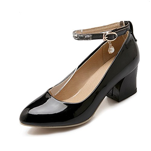 AllhqFashion Womens Solid Patent Leather Low-Heels Buckle Pointed Closed Toe Pumps-Shoes Black qqjTZAeRy