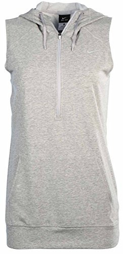 Nike Women's Obsessed Sleeveless Half-Zip Training Hoodie (Medium, Grey) Sleeveless Zip Hoody
