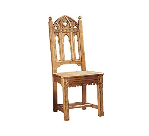 Wood & Style Furniture Hand-Carved Solid Pine Gothic Side Chair - Set of Two Home Office Commerial Heavy Duty Strong Décor