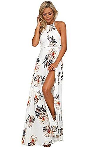Whoinshop Damen Sommerkleid Lang Blumen Maxi Beach Kleid ...