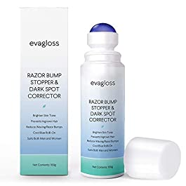 Evagloss Bumps Solution- After Shave Repair Serum for Ingrowns and Burns, Dark Spot Corrector Skin Lightening, Roll-On…