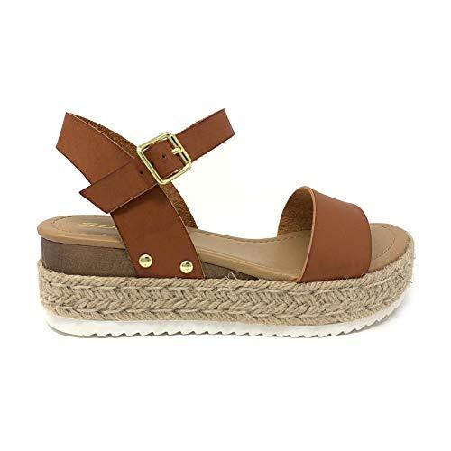 SODA Clip Topshoe Avenue Women's Open Toe Ankle Strap Espadrille Sandal (9 M US, Tan)