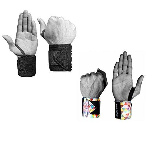 Elastic Wrist Wraps - 18 Inch Pair for Fitness, Powerlifting, Bodybuilding, Weight Lifting, Cross-training Wrist Supports for Weight Training - With Hook and Loop Grip (2 Pack - Diamond-Black) ()
