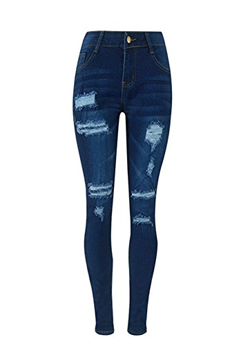 Le Alta Jeans Pantaloni Trouses Strappata In Magro Donne Di Vita Estate Occasionale Darkblue rT4xrqf