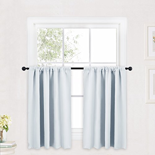 RYB HOME Greyish White Kitchen Tiers Room Darkening Solid Color Rod Pocket Top Small Window Curtain Draperies Valances for Nursery/Dining Room/Bathroom, 42 W x 36 L Inch, 2 Panels