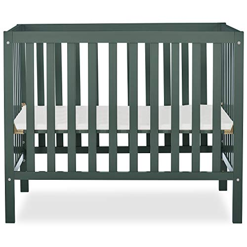 Dream On Me Edgewood 4-in-1 Convertible Mini Crib in Olive
