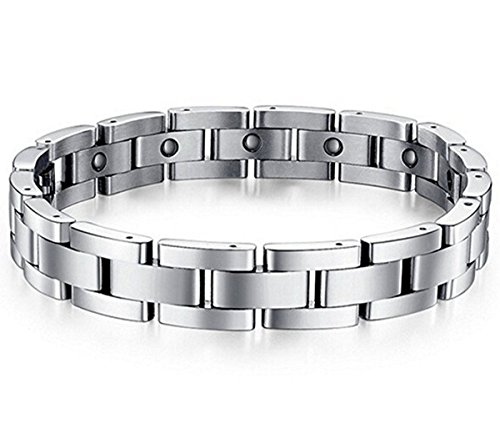 Mens Sleek Titanium Steel Magnetic Therapy Bracelet in Velvet Gift Box with Free Link Removal Tool,9″