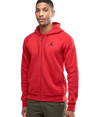 Nike Mens Jordan Flight Full Zip Hooded Sweatshirt Gym Red/Black 823064-687 Size Small