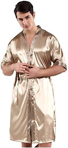 ガウン メンズ ロング ナイトガウン 半袖 春夏 シルクタッチ ベルト付き ゆったり ルームウェア 部屋着 パジャマ 男性用 バスローブ ナイトウェア お風呂上り リラックス フリーサイズ 全2色