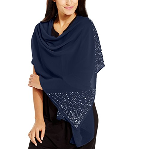 Beaded Silk Wrap (Style & Co. Women's Scattered Stone Wrap Scarf, Navy, One Size)