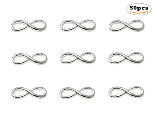 50pcs Infinity Symbol Connectors Charms Pendants for DIY Bracelet Necklace Jewelry Making Accessories By Alimitopia(Antique ()