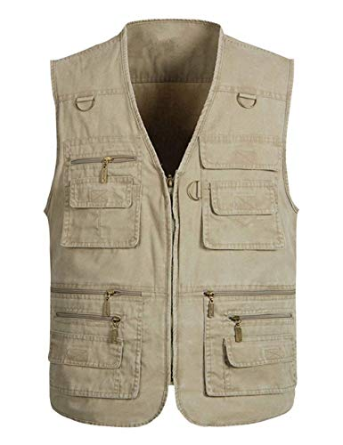 Wildestdream Men's Casual Outdoor Work Photo Journalist Fishing Pockets Vest Khaki X-Large