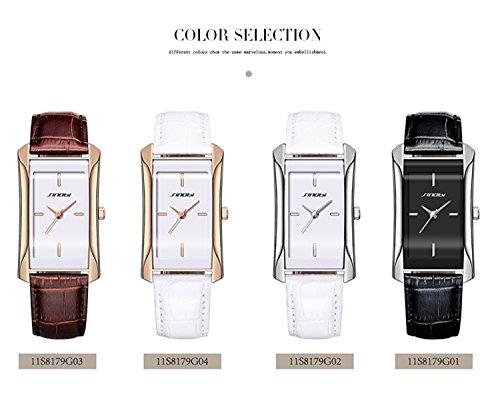 SINOBI Square Women Watches Wristwatch Business Casual Lady Designer Simple Rectangular Women Watches S8179L (rosegold case&brown band) by SINOBI (Image #6)