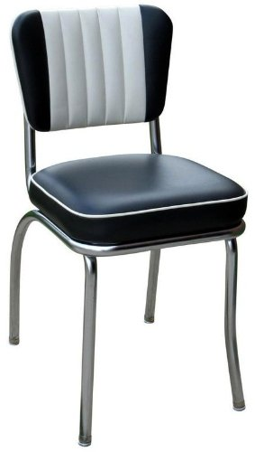 Prime Richardson Seating Two Tone Channel Back Retro Diner Chair With 2 Box Seat Black White 18 Pabps2019 Chair Design Images Pabps2019Com