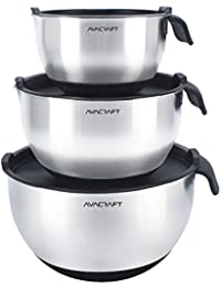 Favor AVACRAFT Modern High Quality 18/10 Stainless Steel Mixing Bowl Set with Lids, Soft Handle & Spout deliver