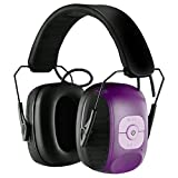 Homitt Electronic Noise Reduction Earmuff, Safety Hearing Protection Headphones with AUX Jack and Active Hunting Protection Equipment for Hunting, Shooting, Mowing Lawn and Listen to Music- Purple