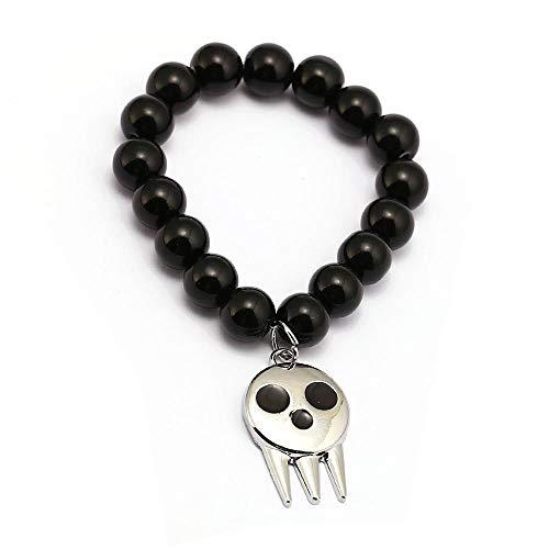 Onyx Handmade Cufflinks - Algol - Anime Soul Eater Bracelets Skull Charm Handmade Natural Black Onyx Beads Bracelet Men Women Bangle Jewelry Accessories