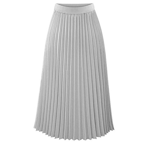 Thenxin Chiffon Pleated Skirt for Women Elastic High Waist Solid Color A-Line Swing Midi Skirt(Gray,XL)