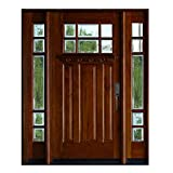12' Sidelites and 36'X80' Mahogany Front Entry Door, 6 Lite Exterior Door Wood Outdoor, Prehung and Prefinish (12'X36'X12'X80', Right-Hand)