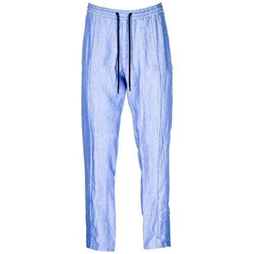 Armani Linen Trousers - Emporio Armani Men Trousers - blu 32W