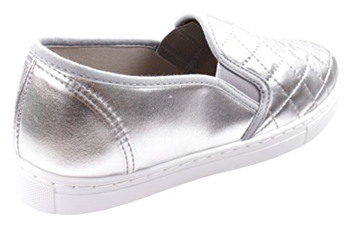 ANNA Damen Slick Ligh Weight Comfort Slip auf gesteppten Fashion Sneakers Silber