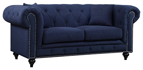 Meridian Furniture 662Navy-L Chesterfield Linen Upholstered Loveseat with Classic Scroll Arms, Button Tufting, Silver Nailhead Trim, and Custom Solid Wood Legs, Navy Linen Scroll
