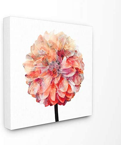 Stupell Industries Bright Coral Watercolor Bloom Dahlia Flower Canvas Wall Art
