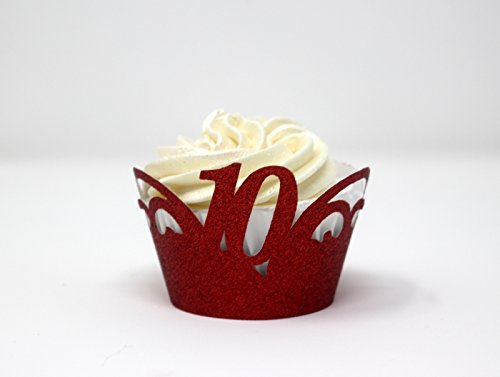 Cupcake Wrappers,12pcs (Glitter Red) ()