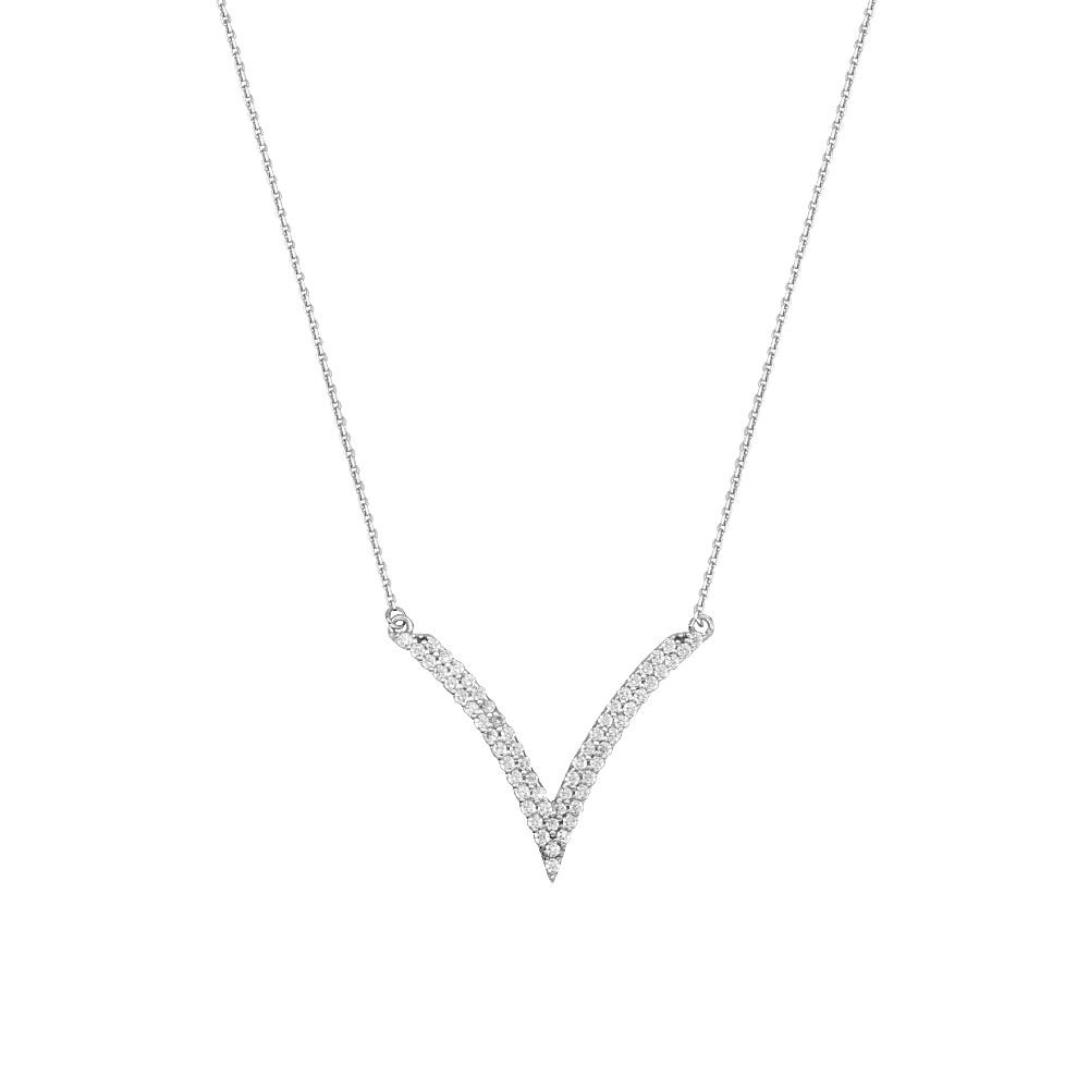 Sterling Silver Cubic ZirconiaV Shape Adjustable Necklace